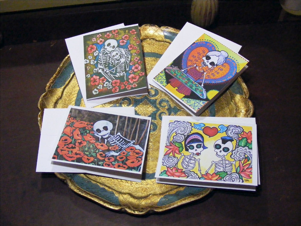 Day of the dead greeting cards mini prints skeletons love thanks day of the dead greeting cards mini prints skeletons love thanks birthday friends blank cards m4hsunfo