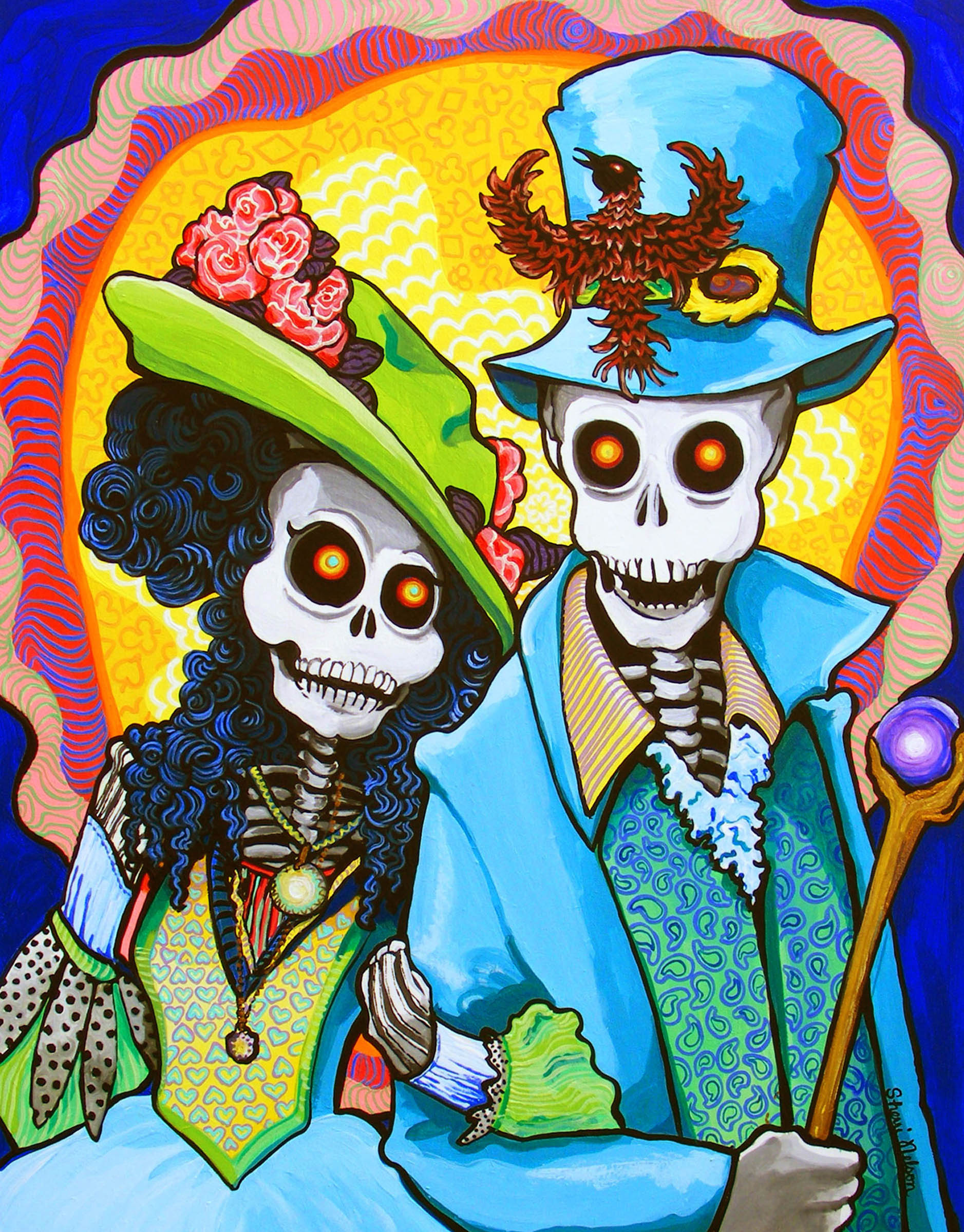Charming Couple Steampunk Day Of The Dead Edwardian Victorian Art Print